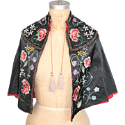 Gorgeous Antique  Silk Capelet with Hand Embroidery