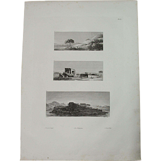 """Antique Print of Views of the Philae, Elephantine and Aswan - Original Copper Engraving from """"Napoleons Travels to Egypt"""" (Vivant Denon) 1802"""