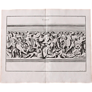 18th Century Copper Engraving of Ancient Combat from L'antiquité expliquée et représentée en figures by Bernard de Montfaucon