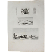 1802 Original View of Ancient Ramesseum temple of  Ramses the Great, a Tomb and the Theban Necropolis - Copper Engraving from Napoleons Travels to Egypt (Vivant Denon)
