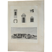 1802 Original View of Ancient  Temple at Thebes from Kournou & architectual Details of a Monolithic temple - Copper Engraving from Napoleons Travels to Egypt (Vivant Denon)