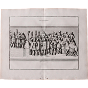 """18th Century Copper Engraving """"Allocution"""" from L'antiquité expliquée et représentée en figures by Bernard de Montfaucon"""