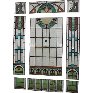 Masterpiece Art Nouveau Set of 9 Art Nouveau Stained and Leaded Glass Window Panels