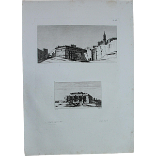 "Antique Print of Views ""Latopolis"" and a Temple of Esna - Original Copper Engraving from ""Napoleons Travels to Egypt"" (Vivant Denon) 1802"