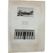 "Antique Print of the Temple of Khnum in Latopolis or Esna and an Arabic tent - Original Copper Engraving from ""Napoleons Travels to Egypt"" (Vivant Denon) 1802"