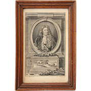 18th Century Copper Engraving of Jean de la Fontaine by Etienne Ficquet after a painting of Hyacinthe Rigaud - framed