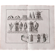 18th Century Copper Engraving of Ancient Roman Granaries & Guard Posts from L'antiquité expliquée et représentée en figures by Bernard de Montfaucon