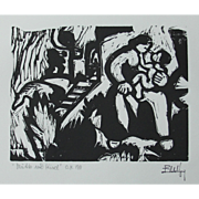 "Eberhard Viegener Expressionist Original Woodcut ""Mutter und Kind"" (Mother & Child) from 1919 Germany"