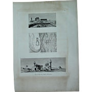 "Antique Print of Views and a ground plan of the Temple of Armant / Hermonthis - Original Copper Engraving from ""Napoleons Travels to Egypt"" (Vivant Denon) 1802"