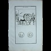 """18th Century Copper Engraving """"Roman Triumph"""" from L'antiquité expliquée et représentée en figures by Bernard de Montfaucon"""