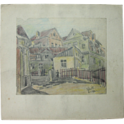 Franz Brantzky Original Pastel Drawing of Hasidic Jews in the streets of Lublin