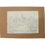 1910's Original pencil Drawing of the Village of Aegidienberg by Franz Brantzky