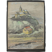 Original Pastel Drawing of Michaelsburg Abbey in Siegburg Germany by Franz Brantzky