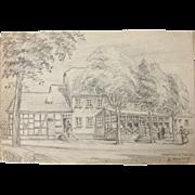 1920's Original Art Nouveau Pencil Drawing of a scene in Neuensaal near Bechen in Germany by Franz Brantzky