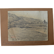 1918 Original Pencil Drawing of a German Landscape by Franz Brantzky