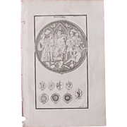 18th Century Copper Engraving of Ancient Roman Shields from L'antiquité expliquée et représentée en figures by Bernard de Montfaucon