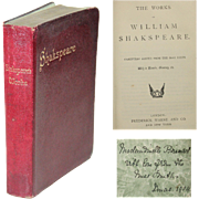 "19th Century Book ""The Works of William Shakespeare"" - Red Tag Sale Item"