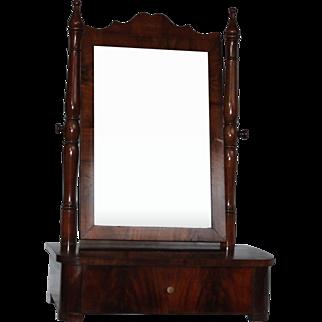 19th Century Beautiful Biedermeier Desktop Vanity with Cherry Wood Veneer - Shaving Mirror from Germany