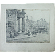 1910's Original Art Nouveau Charcoal Drawing of a City Scene in Warsaw Poland by Franz Brantzky
