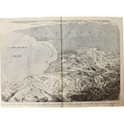 1856 Original Bird's-eye View of Sevastopol and the West Coast of Crimea - Antique Steel Engraving of Siege of Sevastopol
