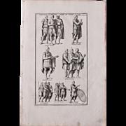 18th Century Copper Engraving of Roman Emperors and Officers from L'antiquité expliquée et représentée en figures by Bernard de Montfaucon
