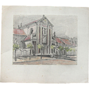 1910's Original Crayon and Charcoal Drawing of Church in Cologne by Franz Brantzky