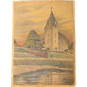 1910's Original Art Nouveau Charcoal and Pastel Drawing of an evening scene at the church of Müden by the river Mosel in Germany by Franz Brantzky