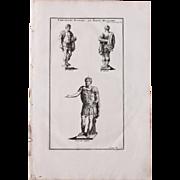 18th Century Copper Engraving of Roman Emperors in Military Habits from L'antiquité expliquée et représentée en figures by Bernard de Montfaucon