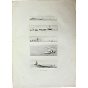 "Original Antique Print of Views of the French Fleet and Abu Qir - Original Copper Engraving from ""Napoleons Travels to Egypt"" (Vivant Denon) 1802"