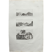 "Antique Print of Views of The cataracts of the Nile and a Nubian dwelling near it - Original Copper Engraving from ""Napoleons Travels to Egypt"" (Vivant Denon) 1802"