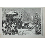 1856 Original Print of the Blessing of the Water of the river Neva in St. Petersburg, Russia - Antique Steel Engraving of Orthodox Theophany