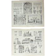 19th Century Set of two Prints of Arabic, Muslim, Babylonian & Oriental Architecture   - 1874 Architectural Steel Engraving