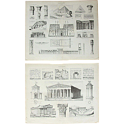 19th Century Set of two Prints of Egyptian & Greek Architecture - 1874 Architectural Steel Engraving