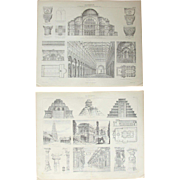 19th Century Set of two Prints of Early Christian, Ancient Indian & Ancient American Architecture - 1874 Architectural Steel Engraving
