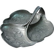 Art Nouveau Candy Dish - Divided Pewter Tray with floral Designs of Lilies