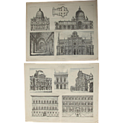19th Century Set of two Prints of Renaissance Architecture - 1874 Architectural Steel Engraving