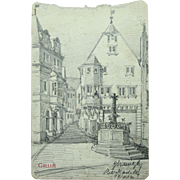 1904 Original Art Nouveau Charcoal Drawing of City Scape of Bernkastel, Germany by Franz Brantzky