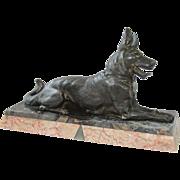 Original Art Deco Metal & Marble Sculpture of German Shepard Dog, France circa 1920