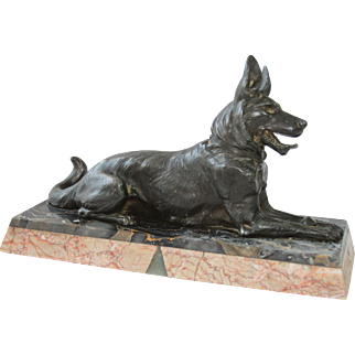 Original Art Deco Metal & Marble Sculpture of German Shepard Dog, France circa 1920