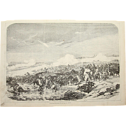 1856 Original Depiction of the Pasha Omar crossing the Enguri River with his troops- Antique Steel Engraving of Crimean War