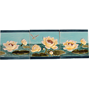 "Art Nouveau Set of three 1900's Tiles ""Water Lilies & Dragon-Fly"""