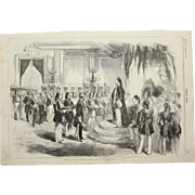 1856 Original Depiction of the French ambassador honoring the Sultan of Turkey with a Medal of the Legion of Honour - Antique Steel Engraving