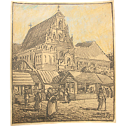 Original Charcoal & Pastel Drawing of the market square of Lublin, Poland by Franz Brantzky