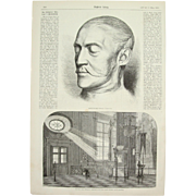 1856 Original Depiction of Death Mask & the Grave of Nicholas I of Russia - Antique Steel Engraving