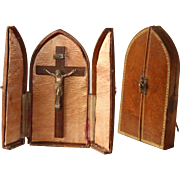 19th Century French Travel Altar in Leather Case with Silver Plated Jesus on Wood Cross