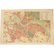 Art Nouveau Map of Dresden including Train lines & Photos of Sights - 1900's Polychrome Lithograph