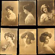 Set of six Art Nouveau Postcards of young Ladies