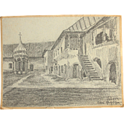 1910's Charcoal Drawing by Franz Brantzky