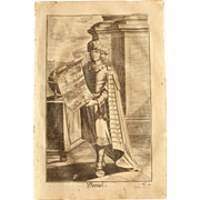 Rare 1701 Copper Engraving of  the Prophet Daniel of the Old Testament by Engelhardt Nunzer
