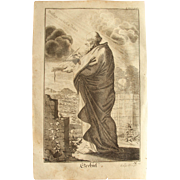 Rare 1701 Copper Engraving of the Prophet Ezekiel of the Old Testament by Engelhardt Nunzer